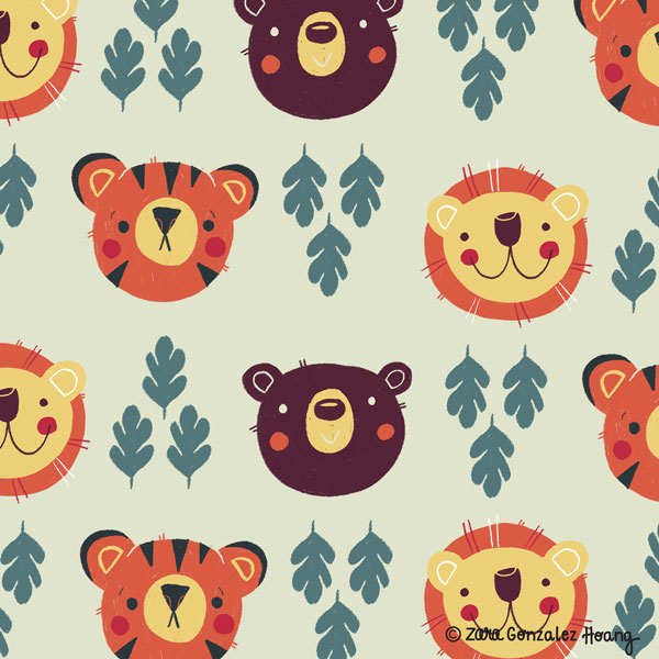 Lions and Tigers and Bears Pattern